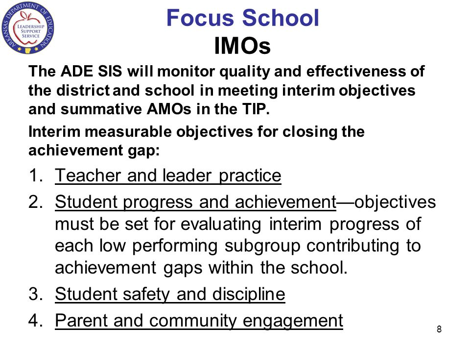Focus School IMOs Teacher and leader practice