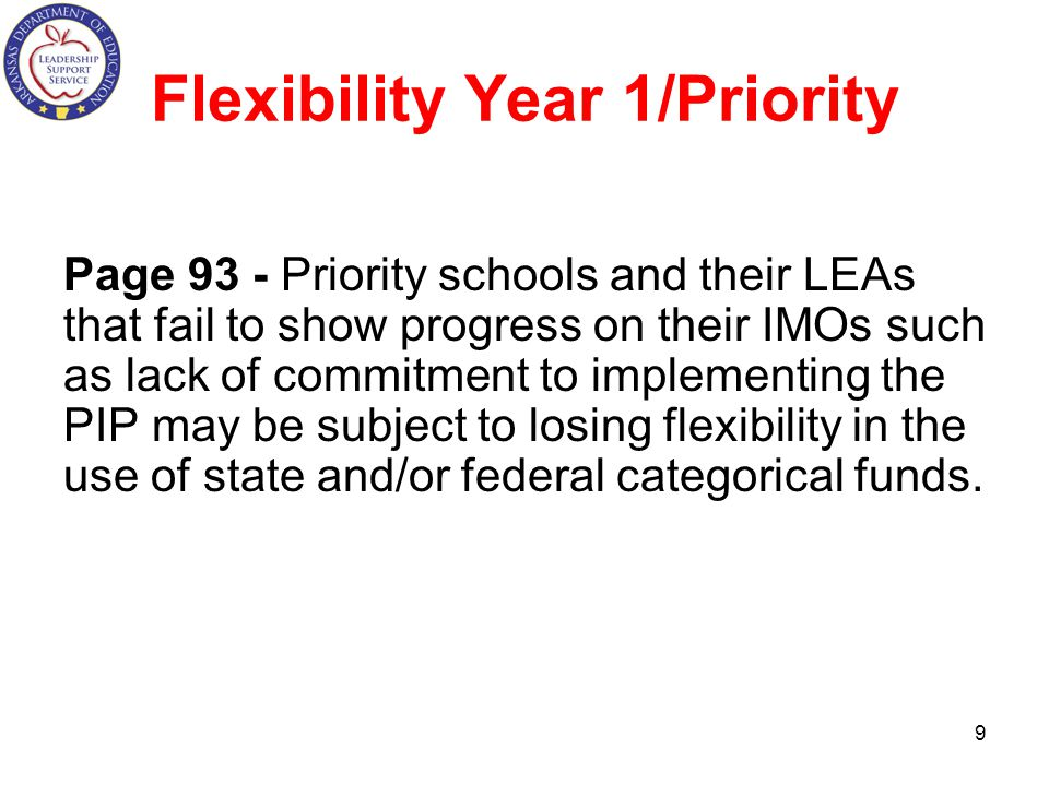 Flexibility Year 1/Priority