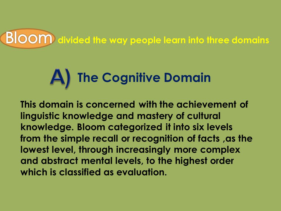 A) Bloom The Cognitive Domain