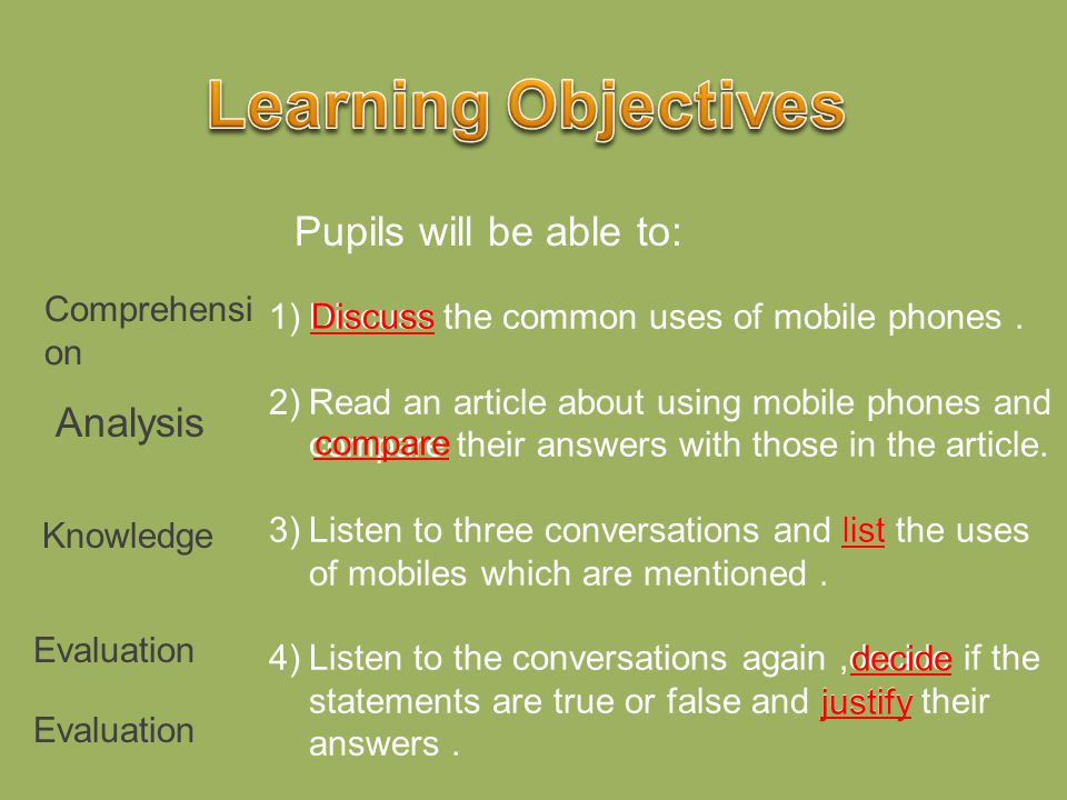 Learning Objectives Pupils will be able to: Analysis Comprehension