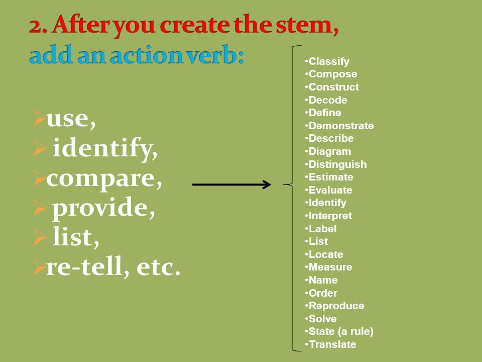 2. After you create the stem, add an action verb: