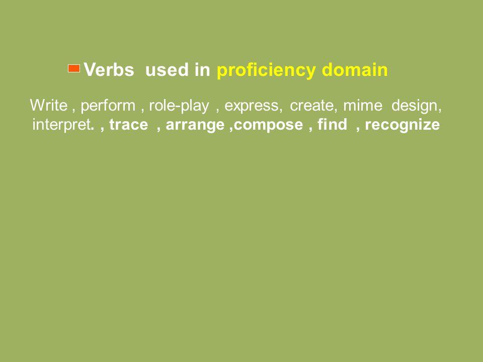 Verbs used in proficiency domain