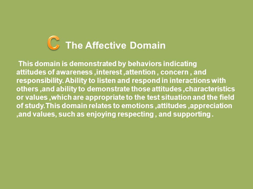 C The Affective Domain.