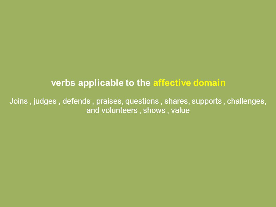 verbs applicable to the affective domain