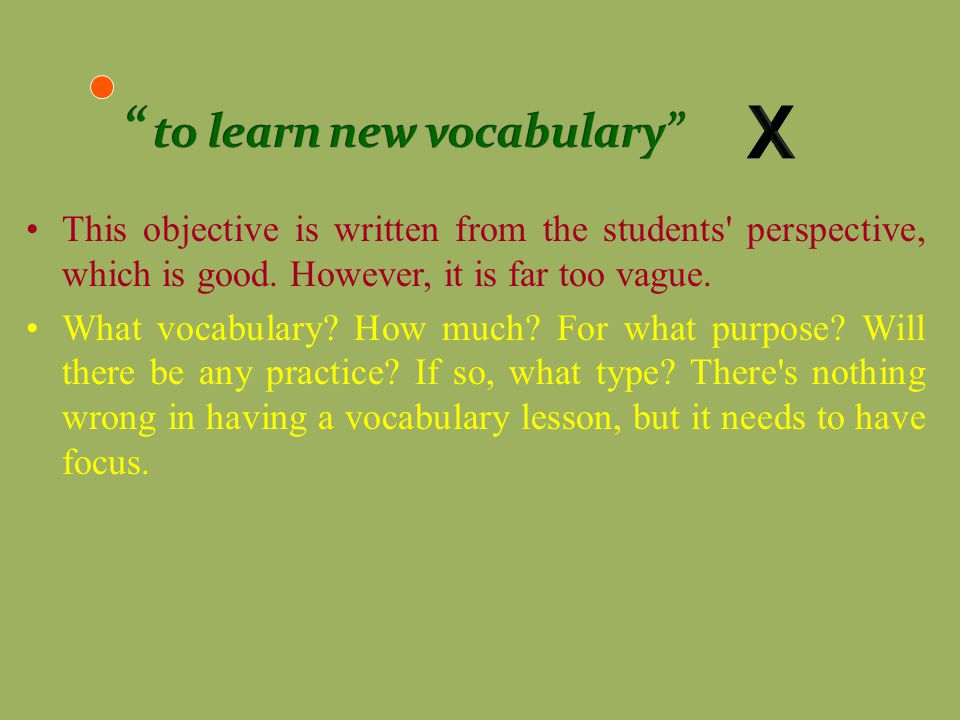 X to learn new vocabulary