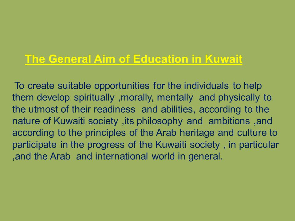 The General Aim of Education in Kuwait