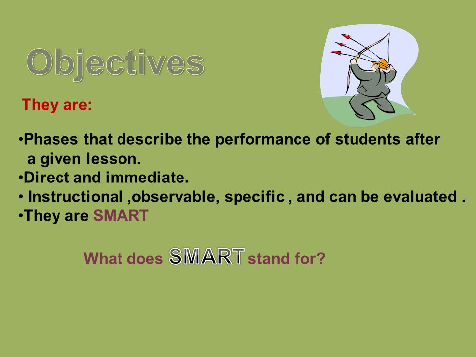 Objectives Phases that describe the performance of students after