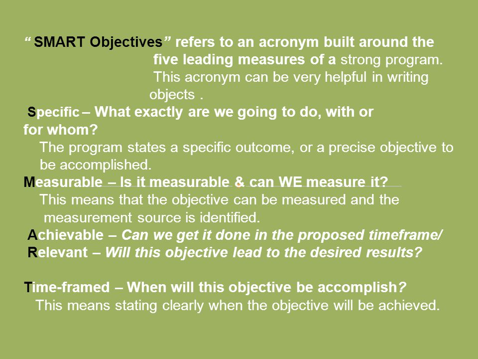 five leading measures of a strong program.
