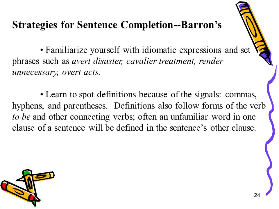 Strategies for Sentence Completion--Barron's