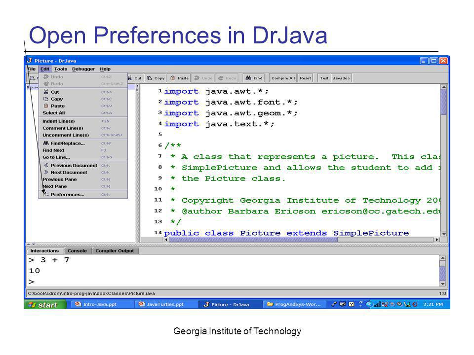 Open Preferences in DrJava
