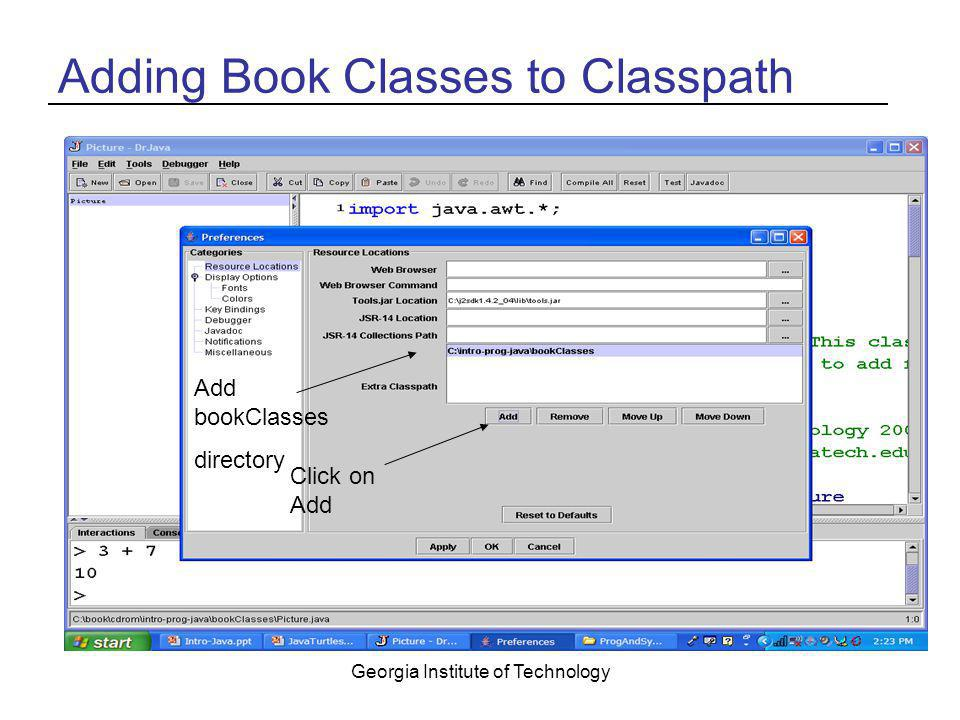 Adding Book Classes to Classpath