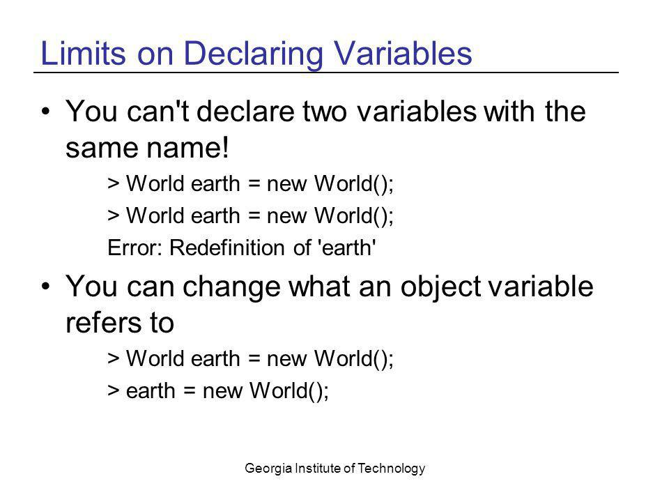 Limits on Declaring Variables