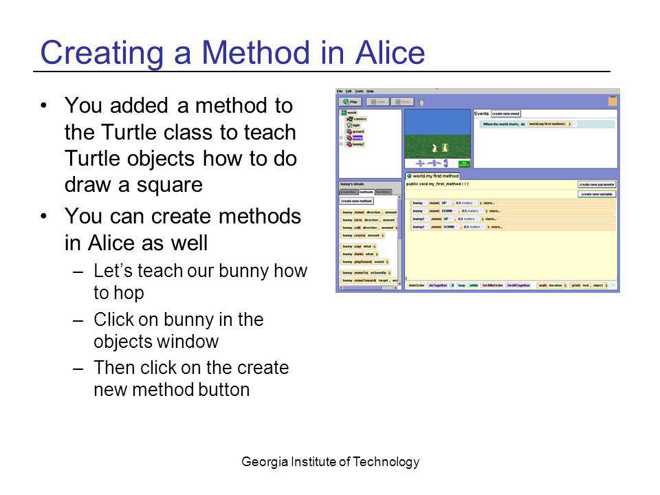 Creating a Method in Alice