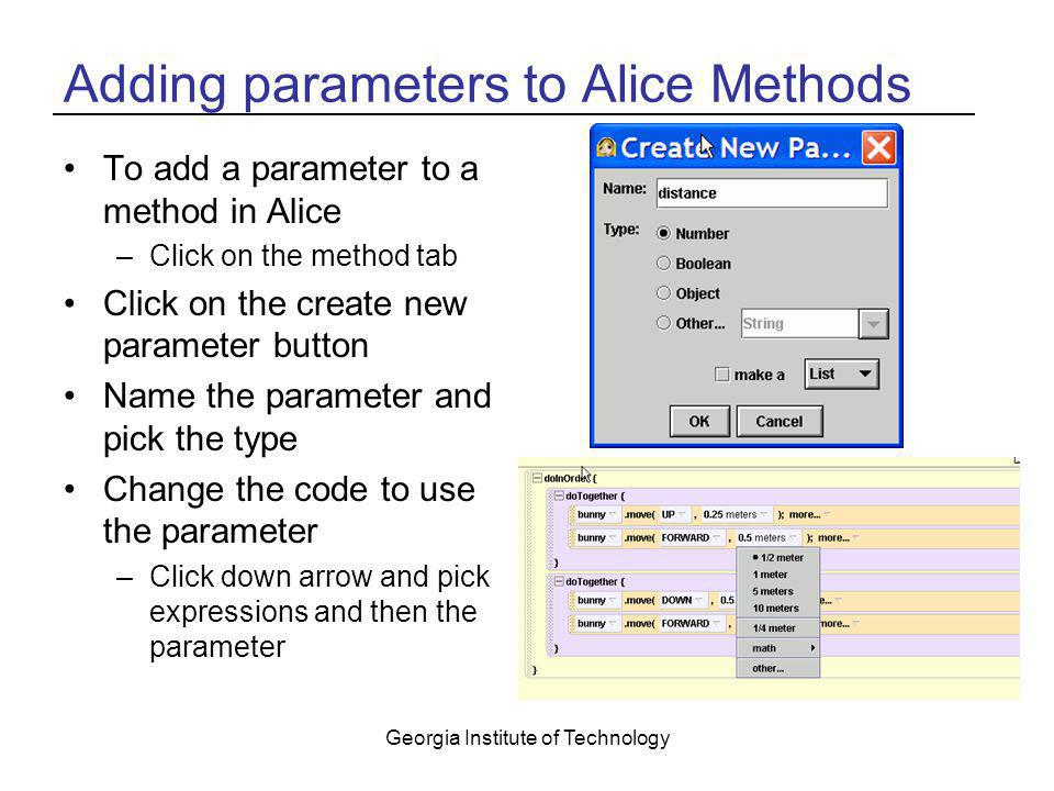 Adding parameters to Alice Methods