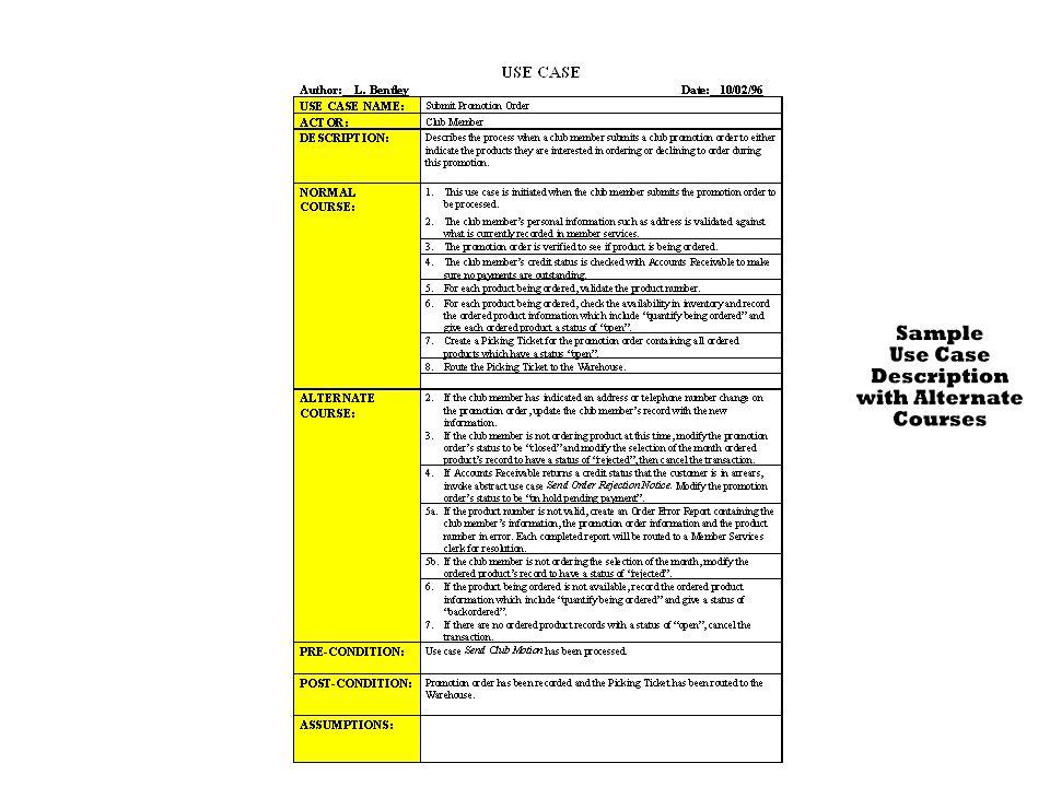 298-300 Figure 8.11 Sample Use Case Description With Alternate Courses