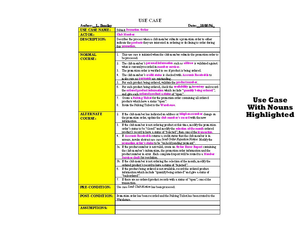 299-301 Figure 8.12 Sample Use Case Description with Nouns Highlighted