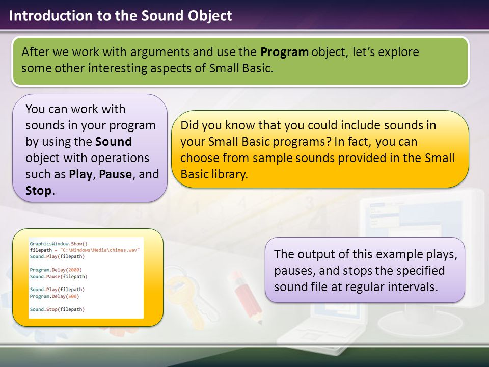 Microsoft small basic ppt download introduction to the sound object ccuart Image collections