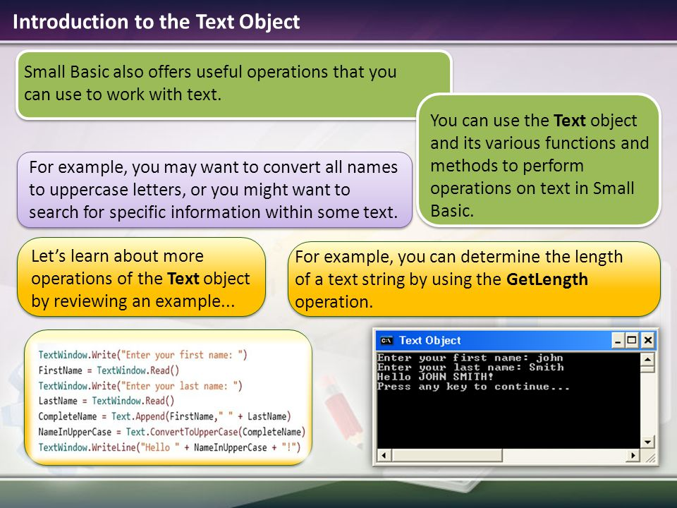Introduction to the Text Object