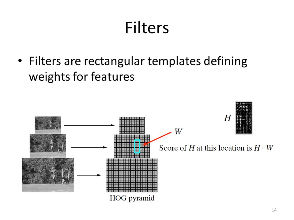 Filters Filters are rectangular templates defining weights for features