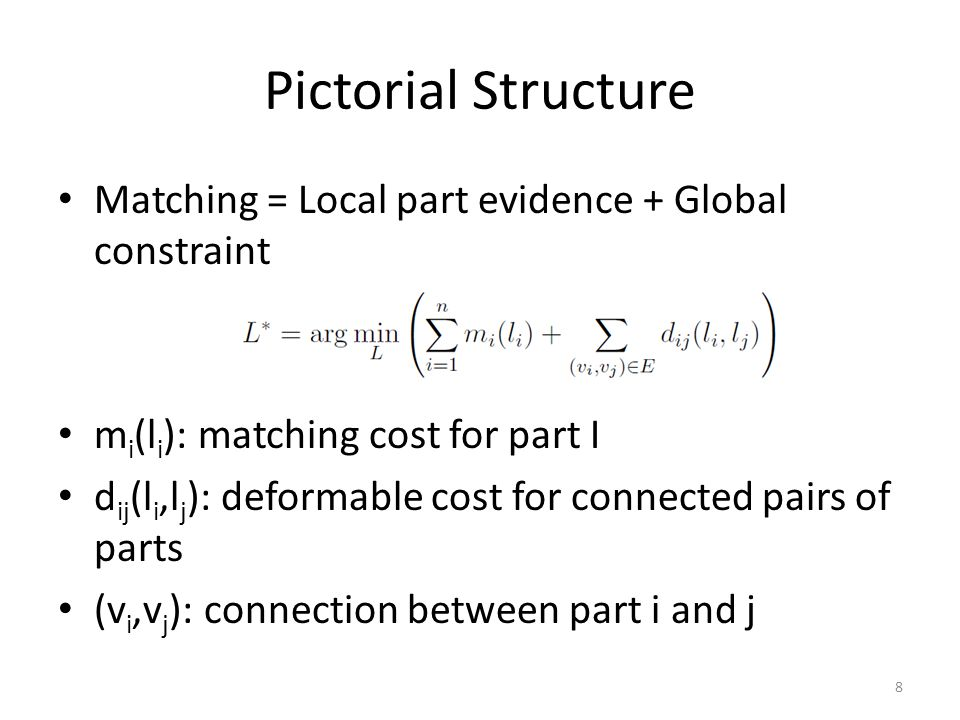 Pictorial Structure Matching = Local part evidence + Global constraint