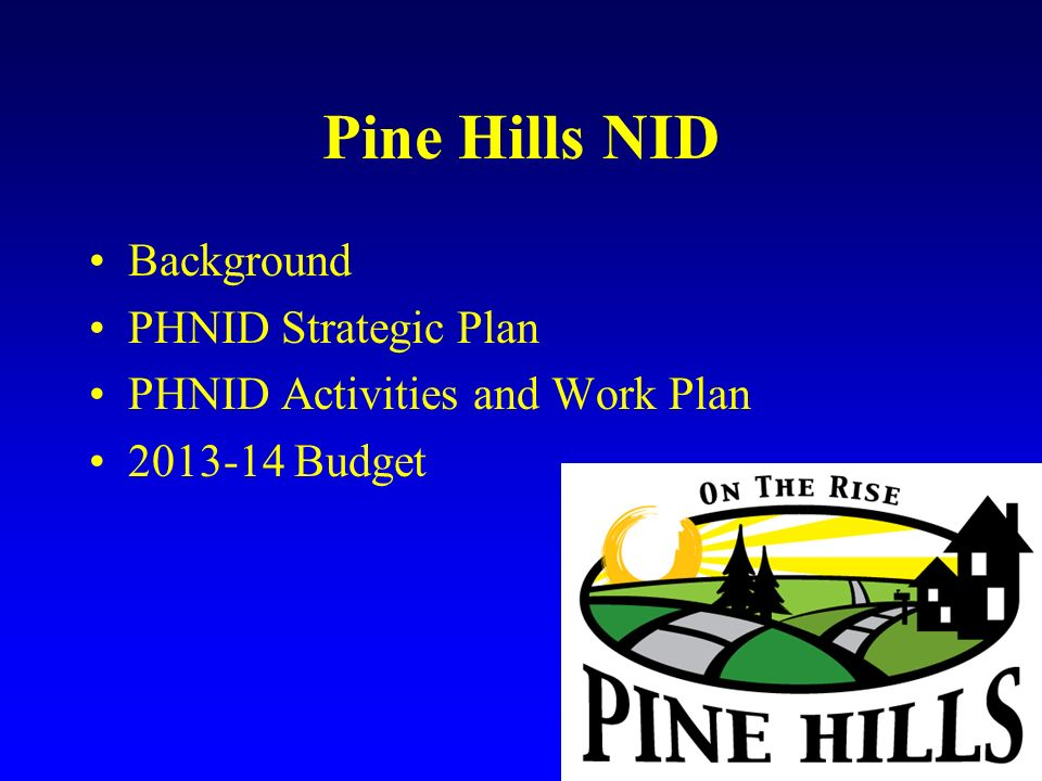 Pine Hills NID Background PHNID Strategic Plan