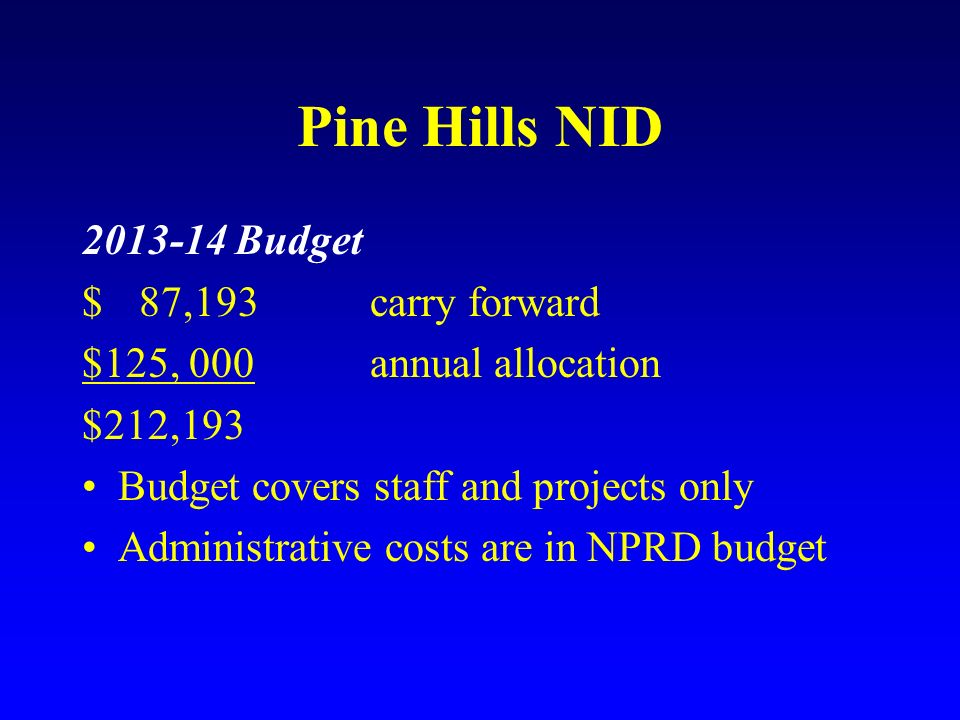 Pine Hills NID Budget $ 87,193 carry forward
