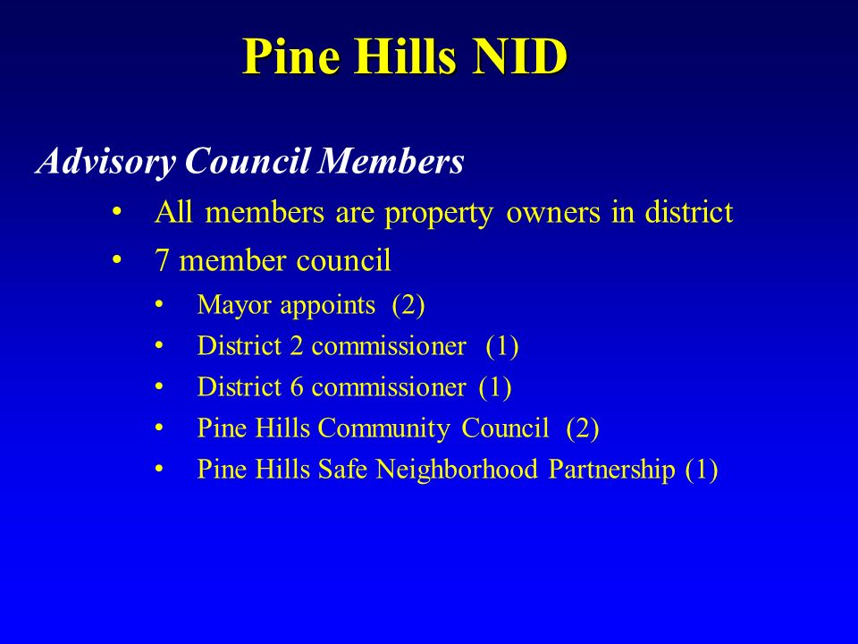 Pine Hills NID Advisory Council Members