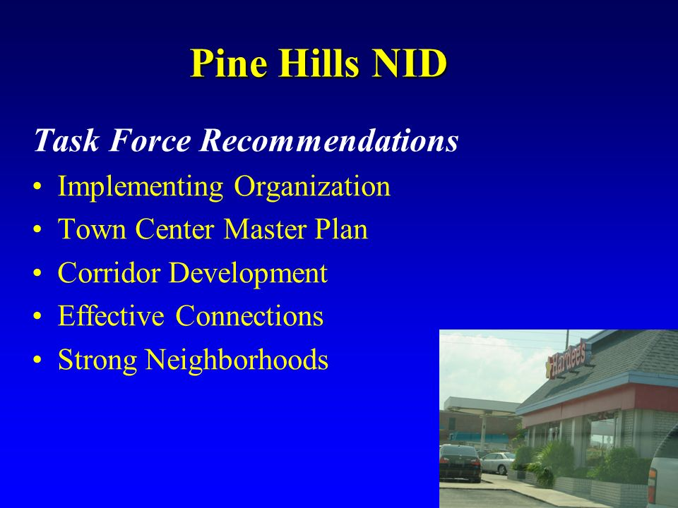 Pine Hills NID Task Force Recommendations Implementing Organization
