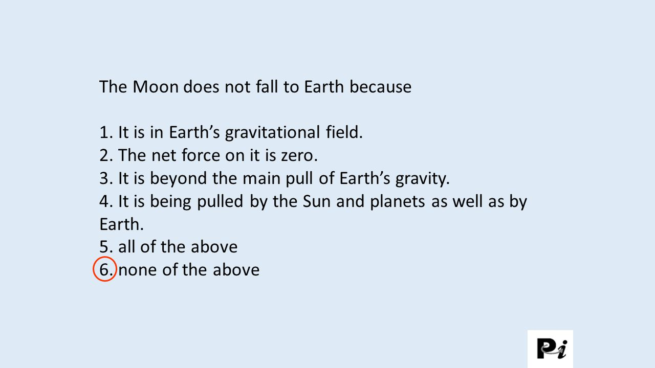 The Moon does not fall to Earth because