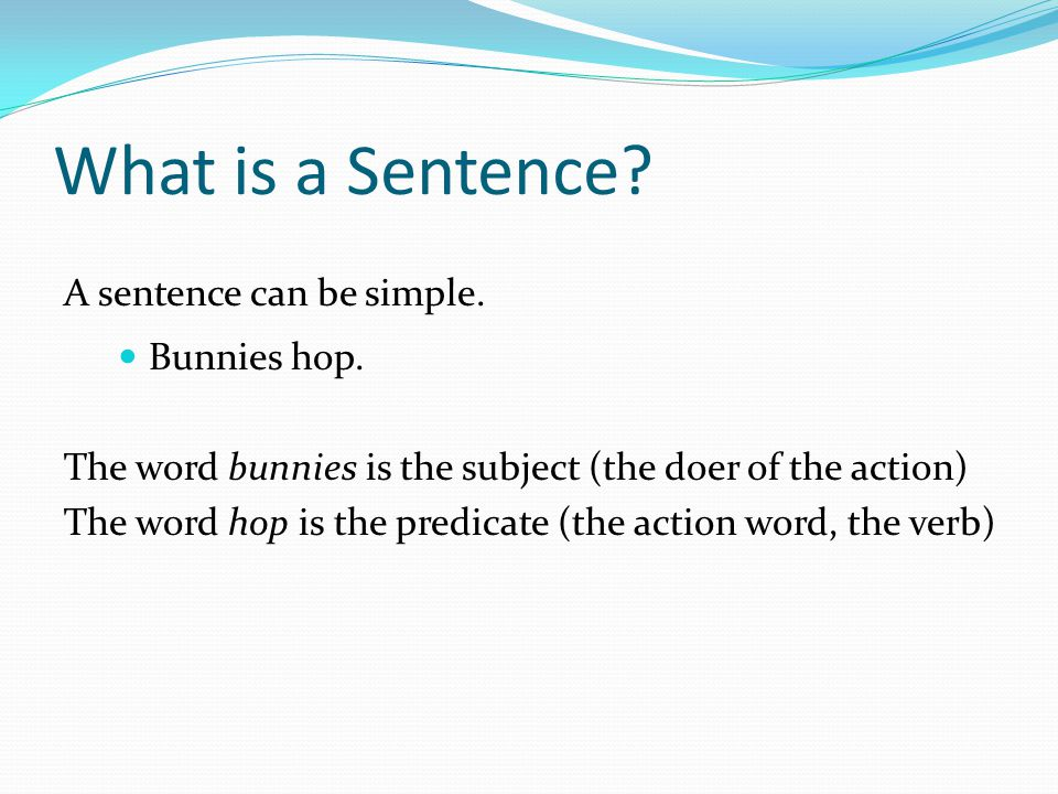 What is a Sentence A sentence can be simple. Bunnies hop.