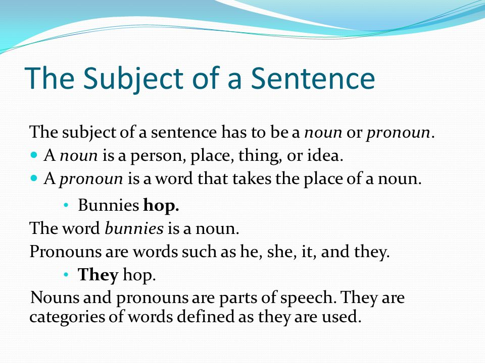 The Subject of a Sentence