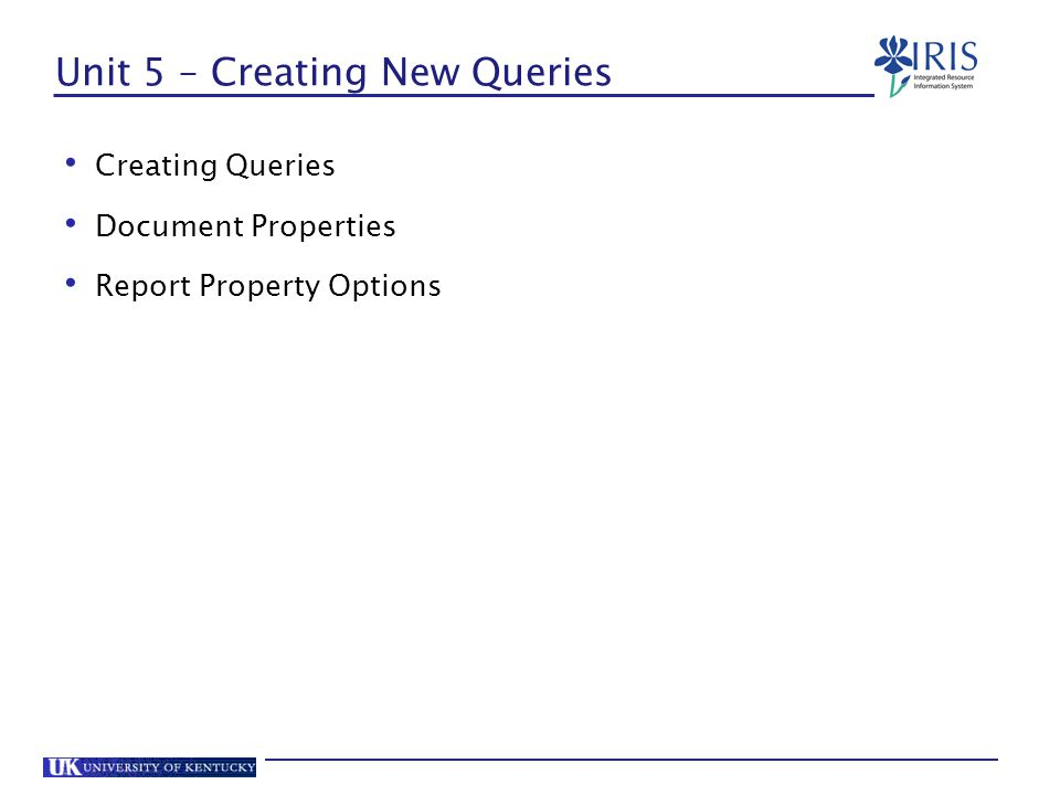 Unit 5 – Creating New Queries