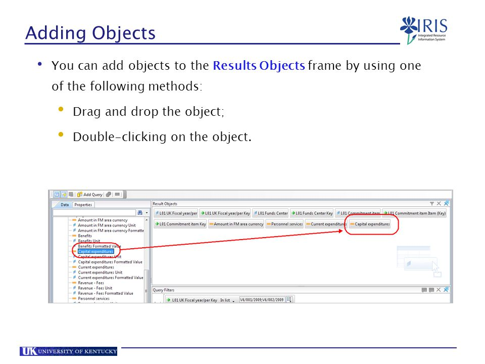 Adding Objects You can add objects to the Results Objects frame by using one of the following methods: