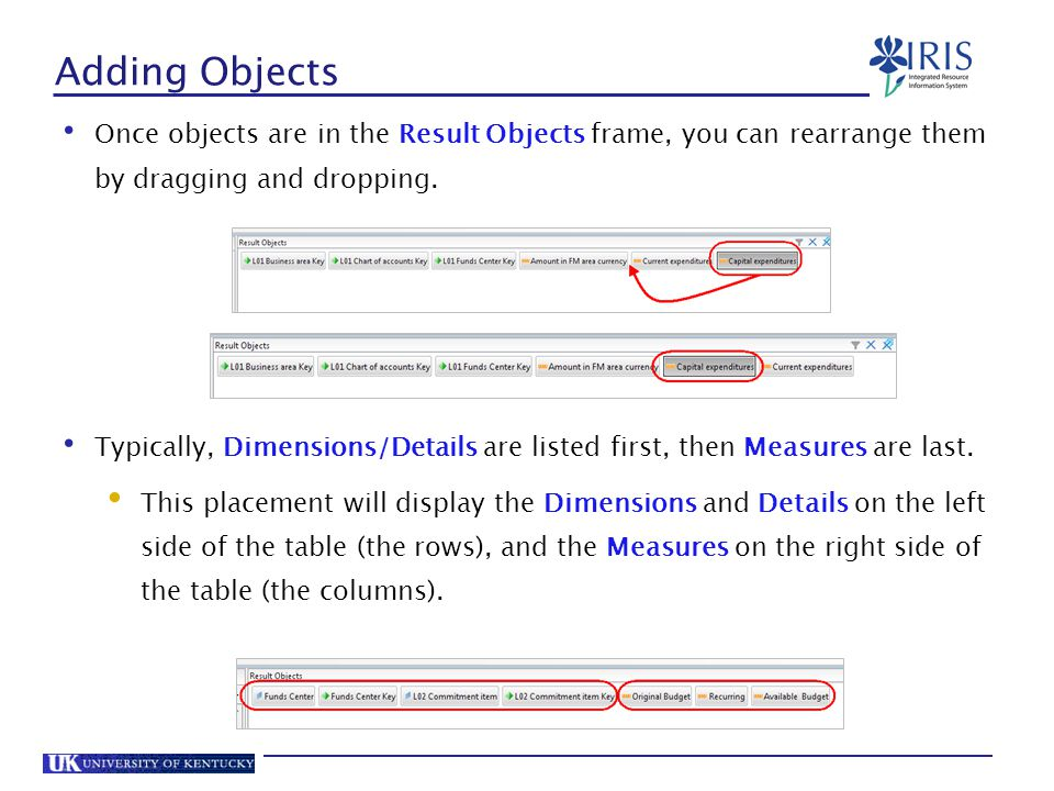 Adding Objects Once objects are in the Result Objects frame, you can rearrange them by dragging and dropping.