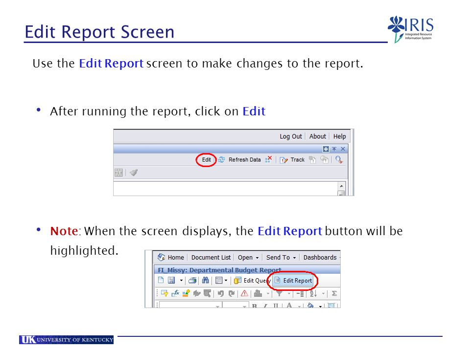 Edit Report Screen Use the Edit Report screen to make changes to the report. After running the report, click on Edit.