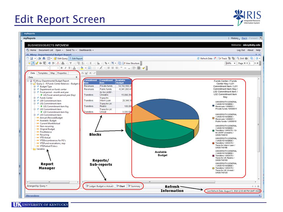 Edit Report Screen