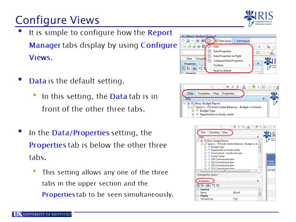Configure Views It is simple to configure how the Report Manager tabs display by using Configure Views.