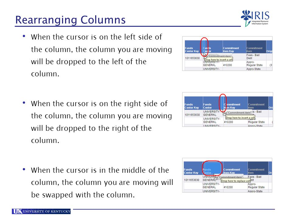 Rearranging Columns When the cursor is on the left side of the column, the column you are moving will be dropped to the left of the column.