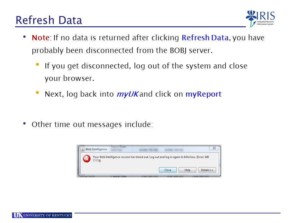 Refresh Data Note: If no data is returned after clicking Refresh Data, you have probably been disconnected from the BOBJ server.