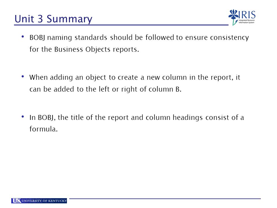 Unit 3 Summary BOBJ naming standards should be followed to ensure consistency for the Business Objects reports.