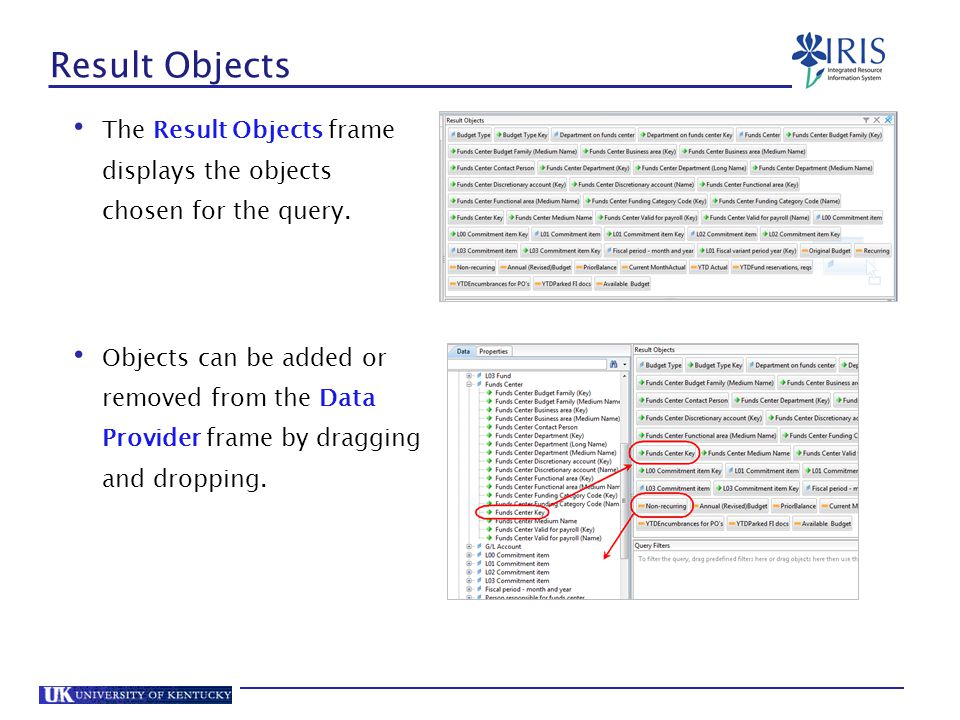 Result Objects The Result Objects frame displays the objects chosen for the query.