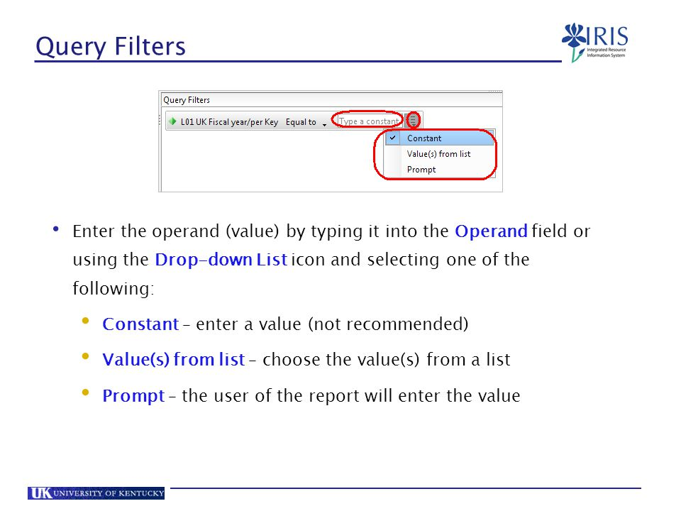 Query Filters Enter the operand (value) by typing it into the Operand field or using the Drop-down List icon and selecting one of the following: