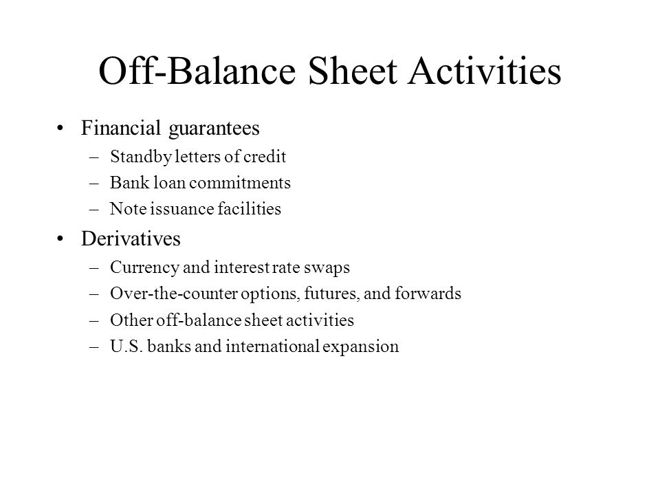 Off-Balance Sheet Activities
