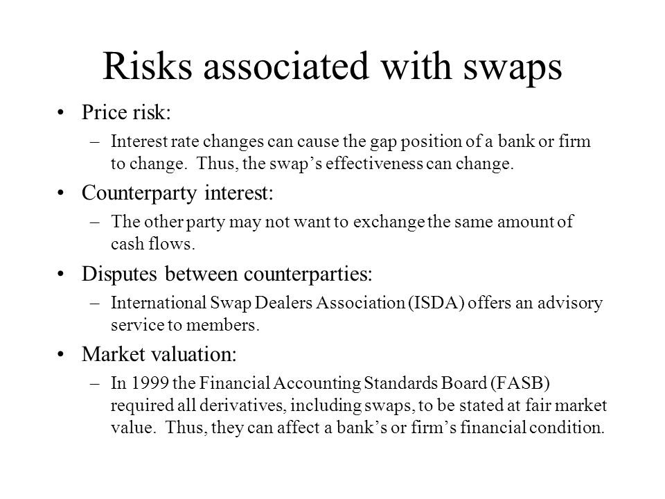 Risks associated with swaps