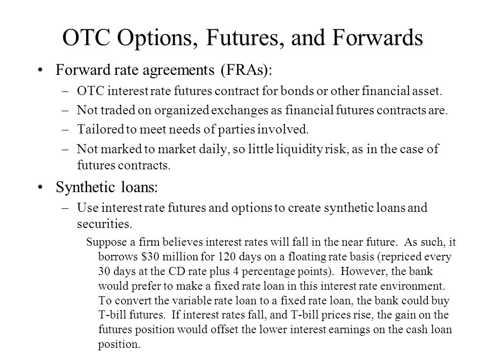 OTC Options, Futures, and Forwards