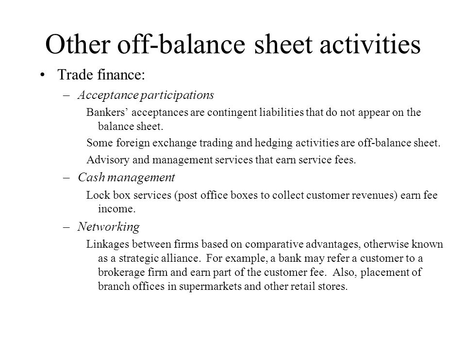 Other off-balance sheet activities