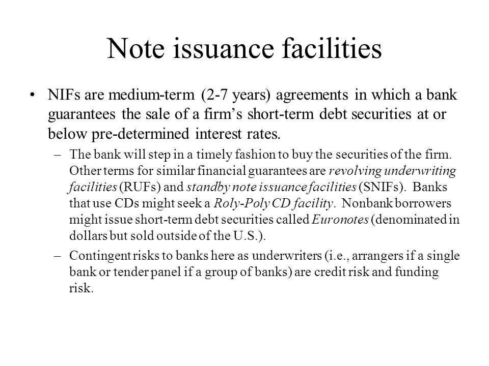 Note issuance facilities