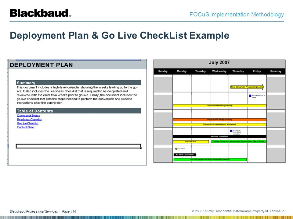 Deployment Plan & Go Live CheckList Example
