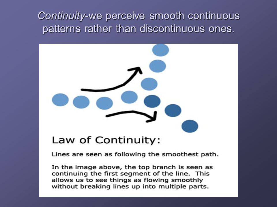 Continuity-we perceive smooth continuous patterns rather than discontinuous ones.
