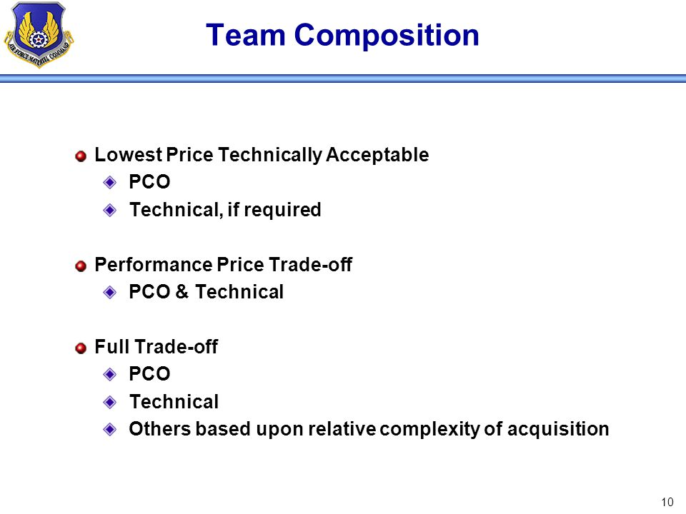 Team Composition Lowest Price Technically Acceptable PCO